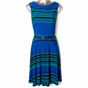 Danny and Nicole Blue Striped Belted Dress 12